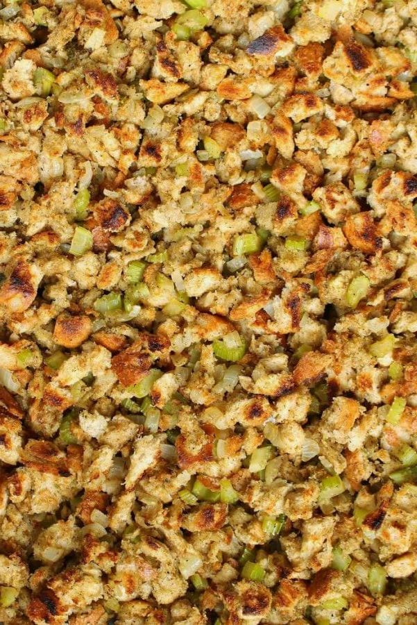 Homemade Stuffing with classic bread stuffing studded with onions and celery.