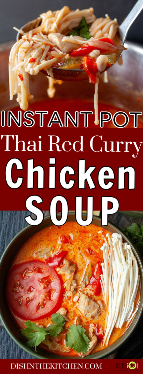 Pinterest image of Thai Red Curry Chicken Soup showing a ladle filled with soup and a bowl of soup.