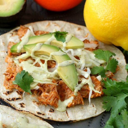 Citrus Pork Carnitas Tacos - Close up of a taco loaded with orange shredded pork, cabbage, avocado, cilantro and cream sauce.