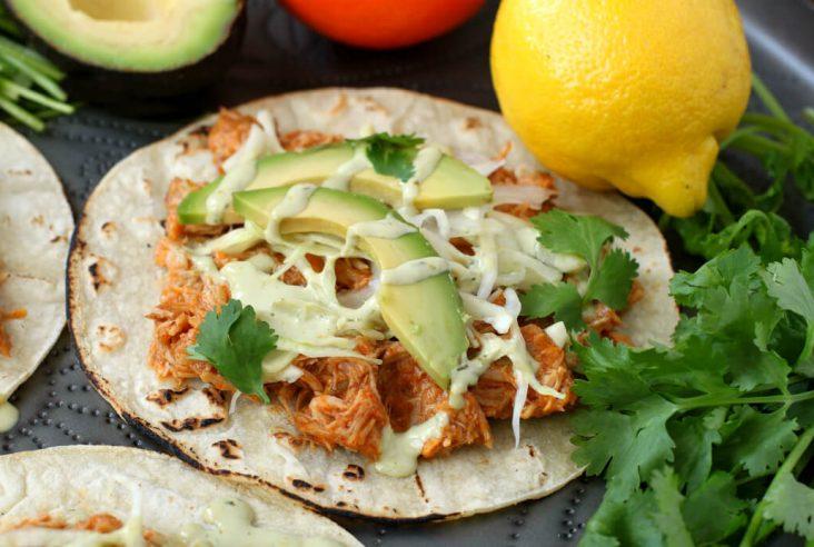 Citrus Pork Carnitas Tacos - Close up of a taco loaded with orange shredded pork, cabbage, avocado, cilantro and cream sauce.