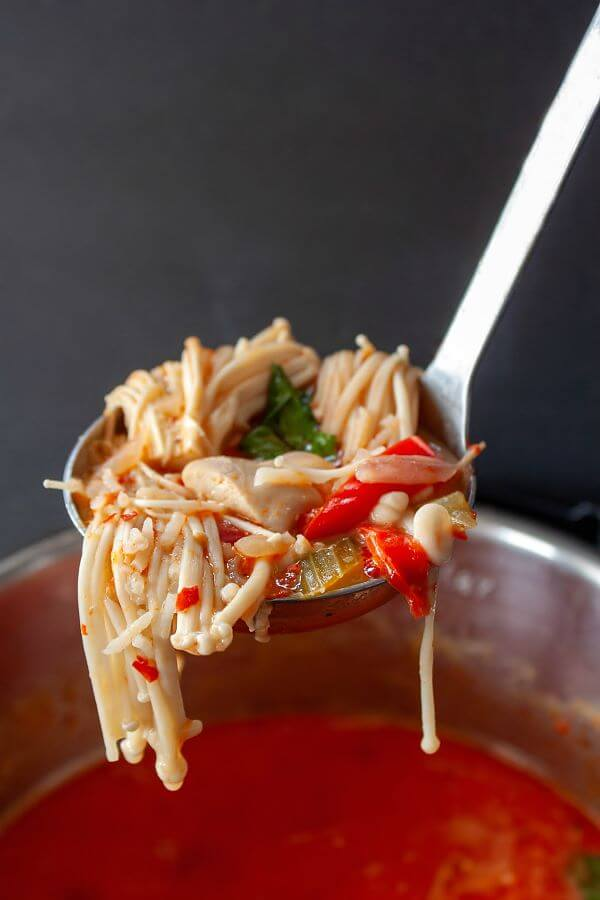 Thai Red Curry Chicken Soup - a ladle filled with chicken, cilantro, red pepper, enoki mushrooms, and red broth.