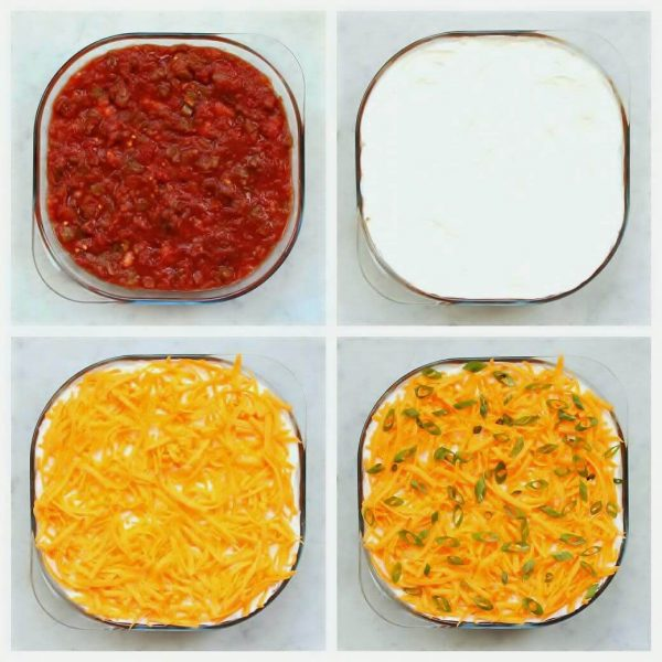 7 Layer Dip - Four process shots showing the last four layers of a layered dip in a glass pan.