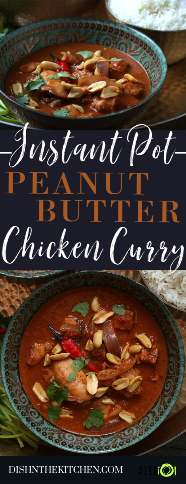 Peanut Butter Chicken Curry - Pinterest image of an ornate bowl containing dark red curry with chicken, onions, red chili pepper, peanuts, and cilantro.