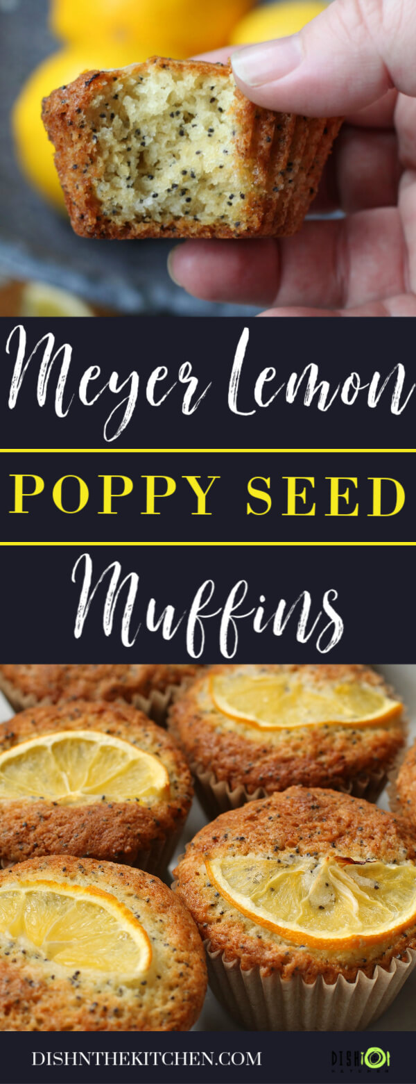 Pinterest images featuring Meyer Lemon Poppy Seed Muffins topped with a slice of lemon.