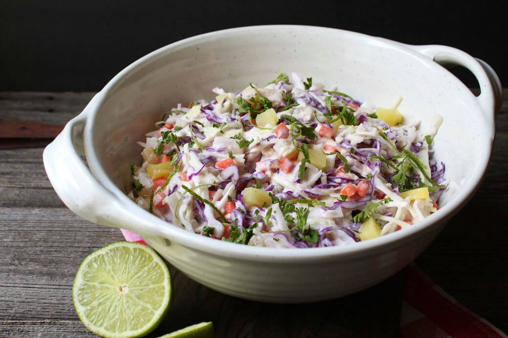 Tropical Pineapple Coconut Coleslaw
