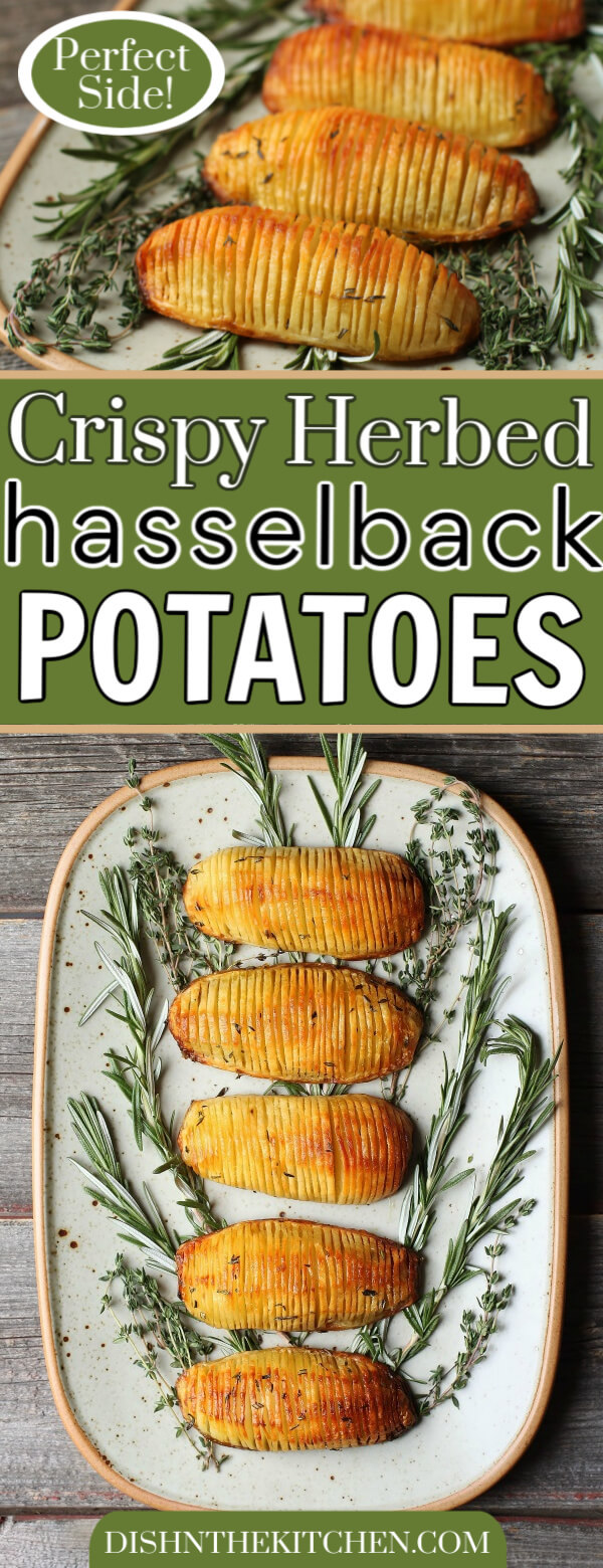 Crispy Herbed Hasselback Potatoes - Pinterest image of golden sliced roasted potatoes with green herbs.