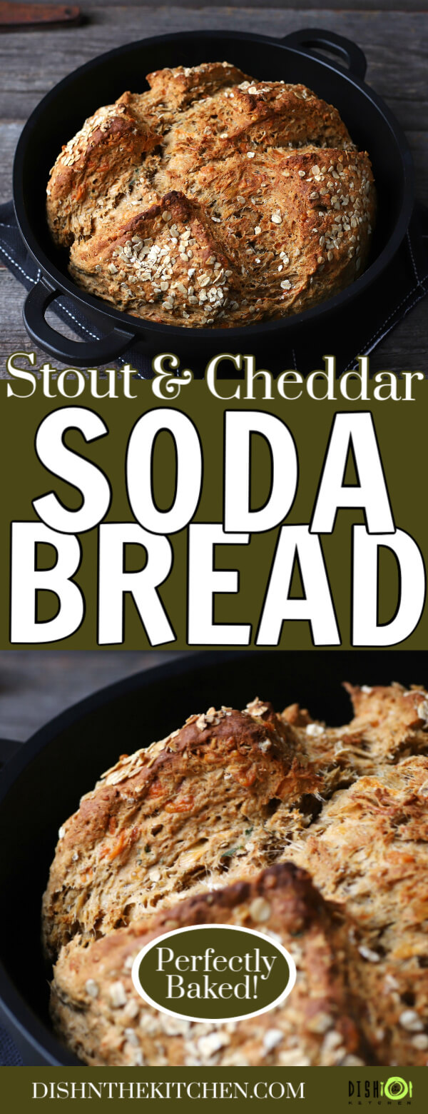 Cheesy Cheddar Stout Soda Bread - Pinterest image of a golden baked soda bread in a cast iron pan.