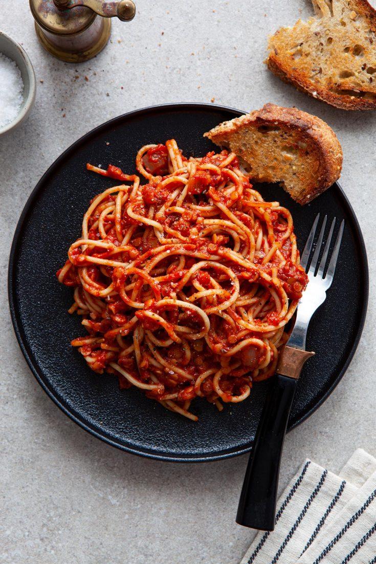 Vegan Lentil Bolognese Sauce - Kelly Neil