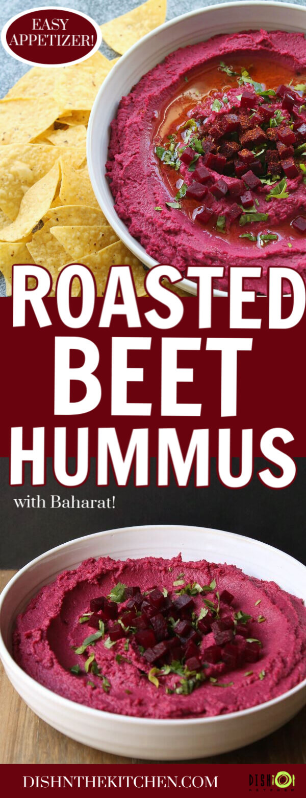 Baharat Roasted Beet Hummus - Pinterest image of two white bowls filled with bright pink hummus topped with cubed beets, olive oil, and parsley.