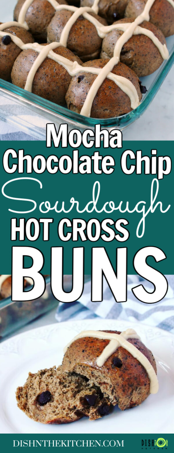 Mocha and Chocolate Chip Sourdough Hot Cross Buns - Pinterest image of a hand holding a hot cross bun over a baking dish full of buns.