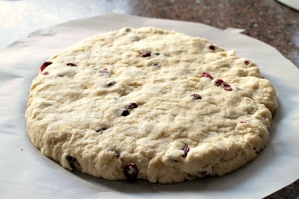 Cranberry Lemon Scones - scone dough rolled out in a flat round.