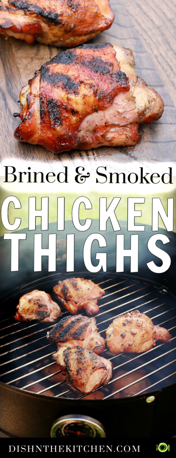 Pinterest image of one perfectly smoked and grilled chicken thigh on dark wooden board and five chicken thighs on a barbecue grill.