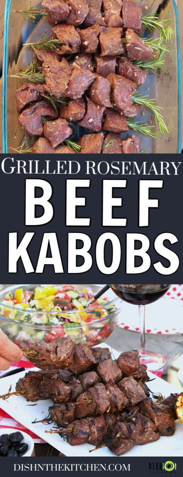 Pinterest image of beef kabobs on rosemary skewers both raw and cooked.