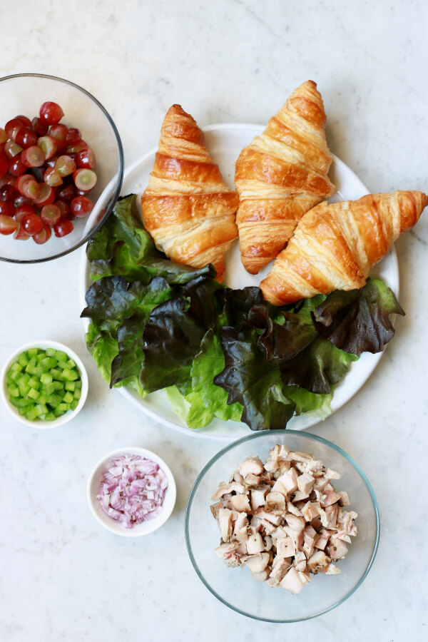 Ingredients for smoky chicken salad on croissants.