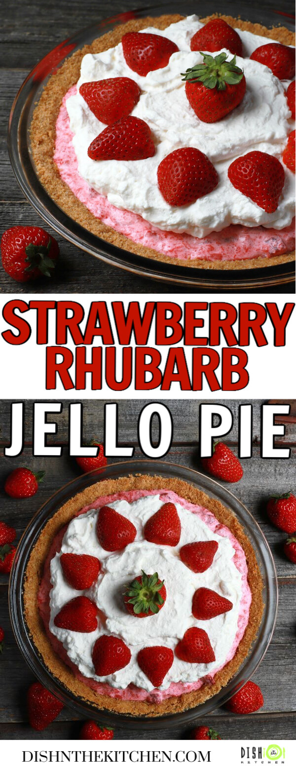Pinterest image of a pink rhubarb strawberry pie in a graham crust topped with strawberries and whipped cream.