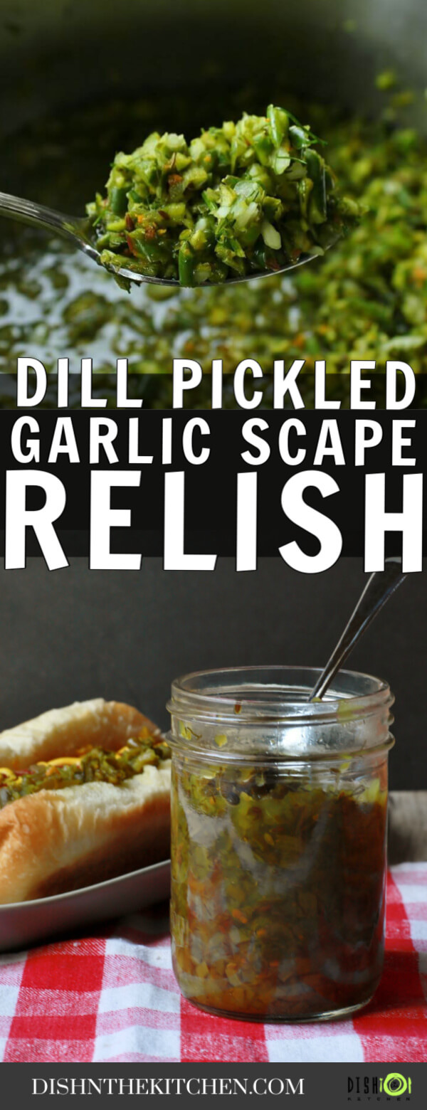 Pinterest image of green relish on a spoon over another photo of a hot dog with relish next to a jar of relish.