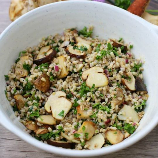 A white bowl filled with barley, fresh herbs, and porcini mushrooms.