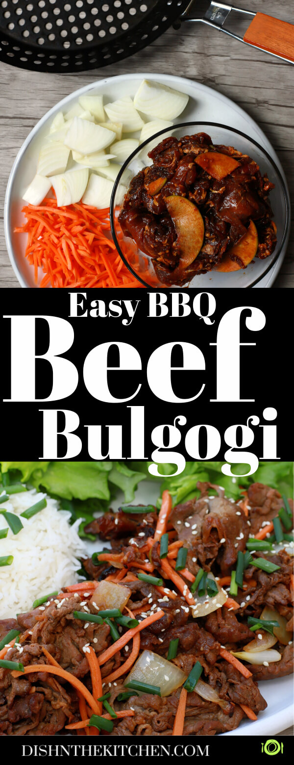 Pinterest image showing ingredients used to make beef bulgogi and the final caramelized beef with onions, carrots, and sesame seeds.