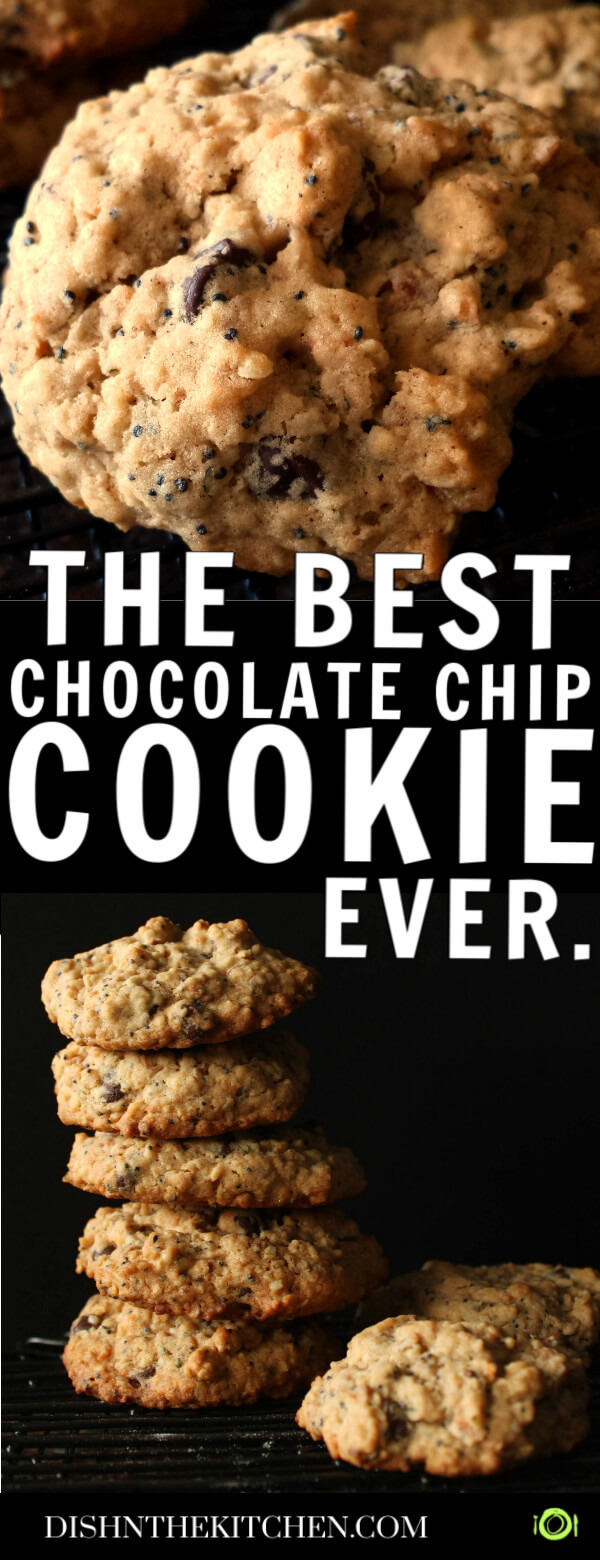 Pinterest image of a large chocolate chip cookie above a stack of cookies on a black background.