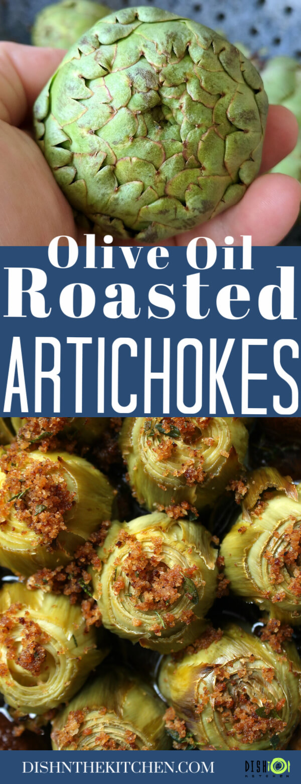 Pinterest image of Roasted Baby Artichokes baked with olive oil, bread crumbs, and Rosemary.