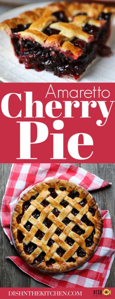 Pinterest image of a gold baked cherry lattice pie.