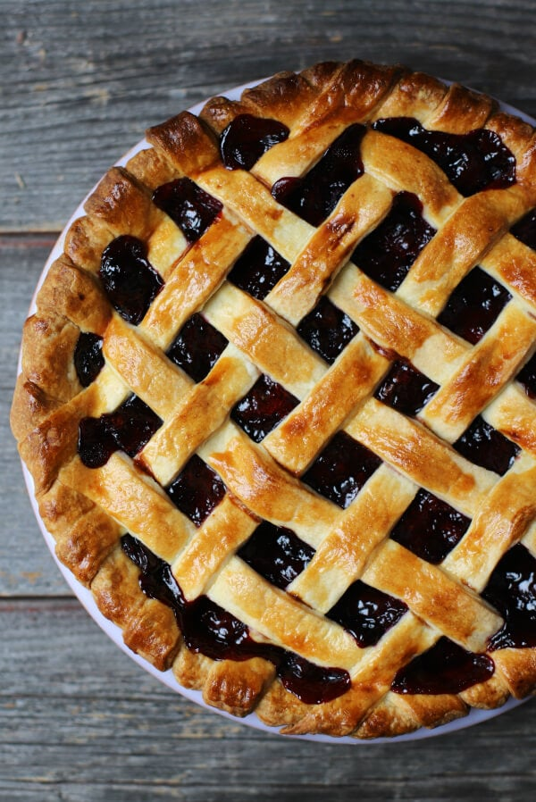 Cherry pie with golden baked lattice top.