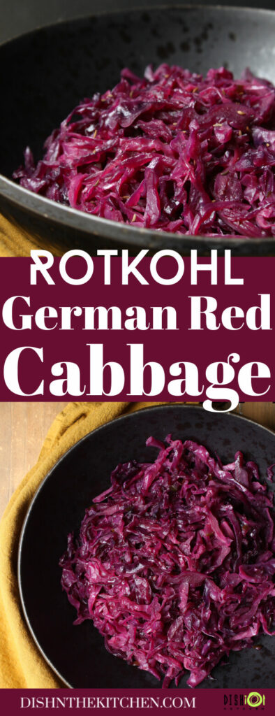 Pinterest image of bright purple shredded red cabbage in a black bowl.