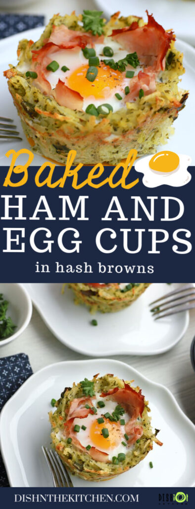 Pinterest image of three baked yellow yolked egg with ham sits in a nest of hash browns.