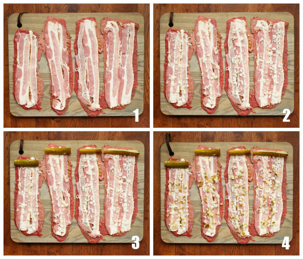 Four process shots showing how to layer beef rouladen.