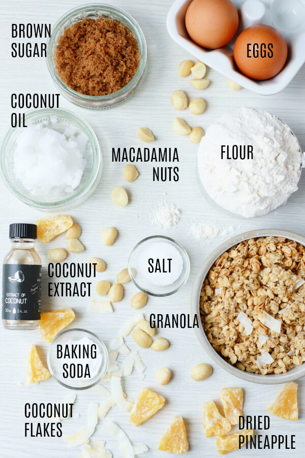 Labelled ingredients photo for Tropical Granola Cookies.