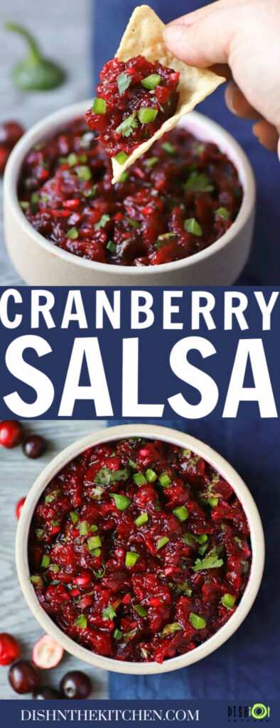 Pinterest image of a white bowl filled with bright red cranberry salsa topped with fresh chopped cilantro.
