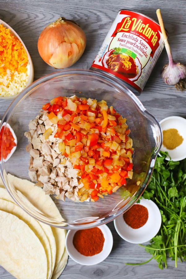 Ingredients used in making baked turkey enchiladas.