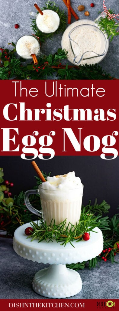 Pinterest image of mugs of creamy bourbon eggnog surrounded by Christmas greens.