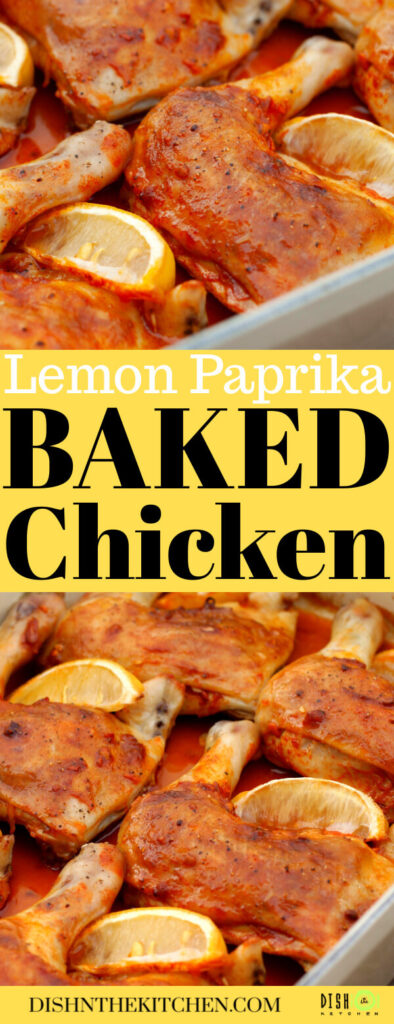 Pinterest image of orange coloured Baked Chicken Legs with lemon wedges.