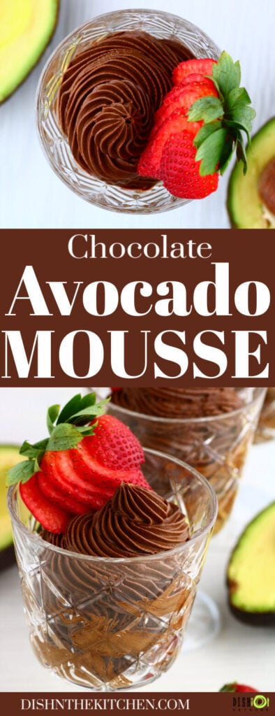 Pinterest images of crystal glasses filled with dark chocolate avocado mousse topped with a strawberry.