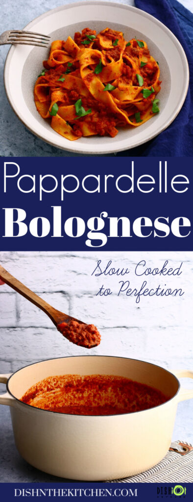 Pinterest image featuring a bowl of bright red papardelle Bolognese and a Dutch oven filled with the same sauce.