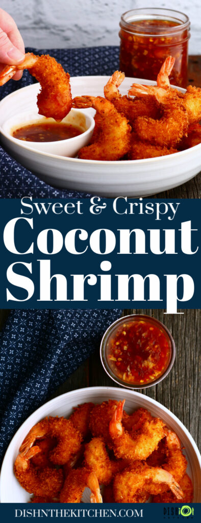 Pinterest image featuring a bowl of crispy golden fried shrimp and red dipping sauce.