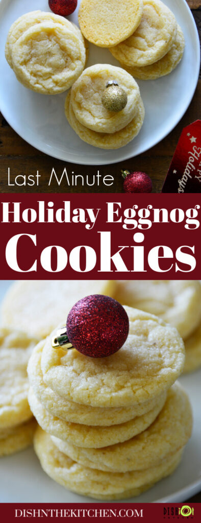 Pinterest image of Eggnog Cookies on a white plate with Christmas ball decorations.