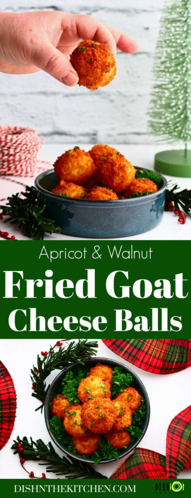 Pinterest image of a hand holding a golden fried goat cheese ball above a bowl full of fried cheese balls.
