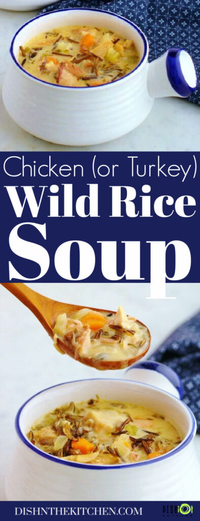 PInterest image of two white bowls filled with creamy chicken wild rice soup.