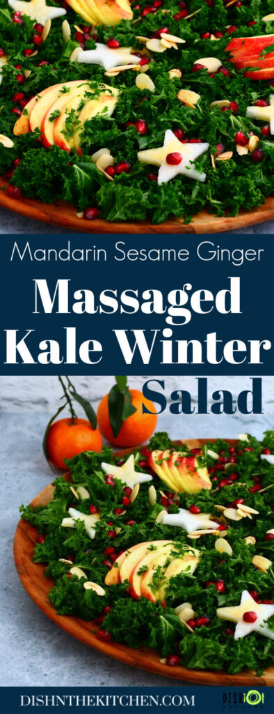 Pinterest image of leafy green massaged kale salad topped with apple slices, daikon stars, almonds, and pomegranate seeds.