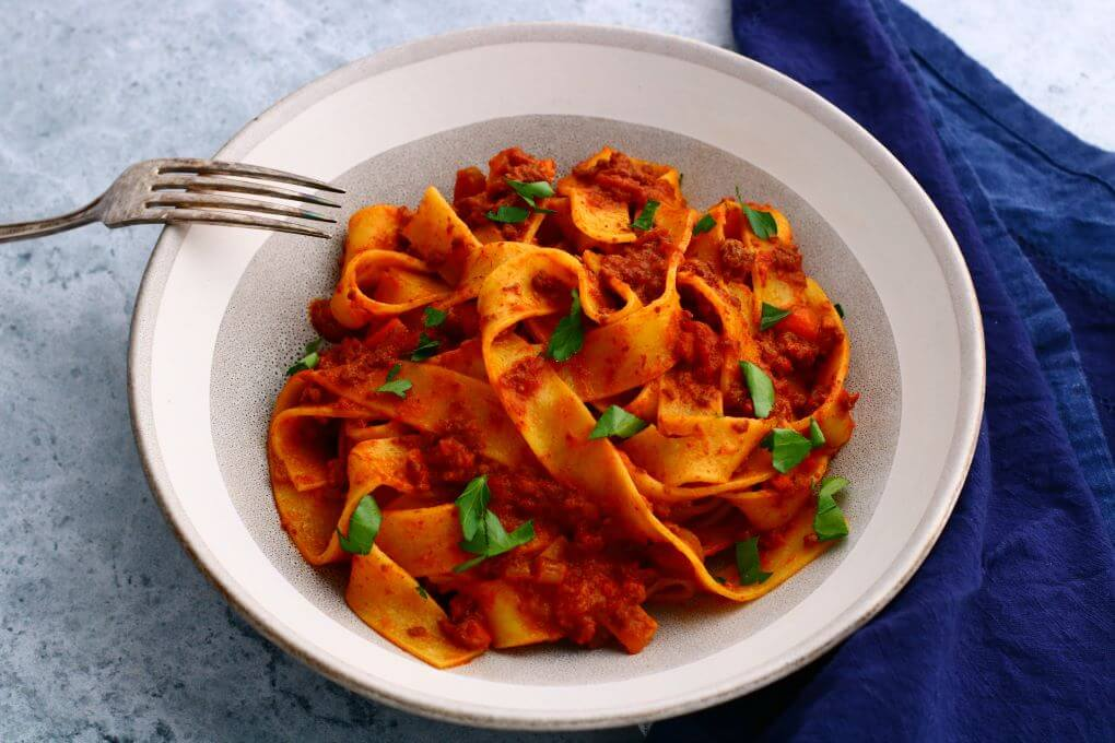 Slow Cooked Pappardelle Bolognese - Dish 'n' the Kitchen