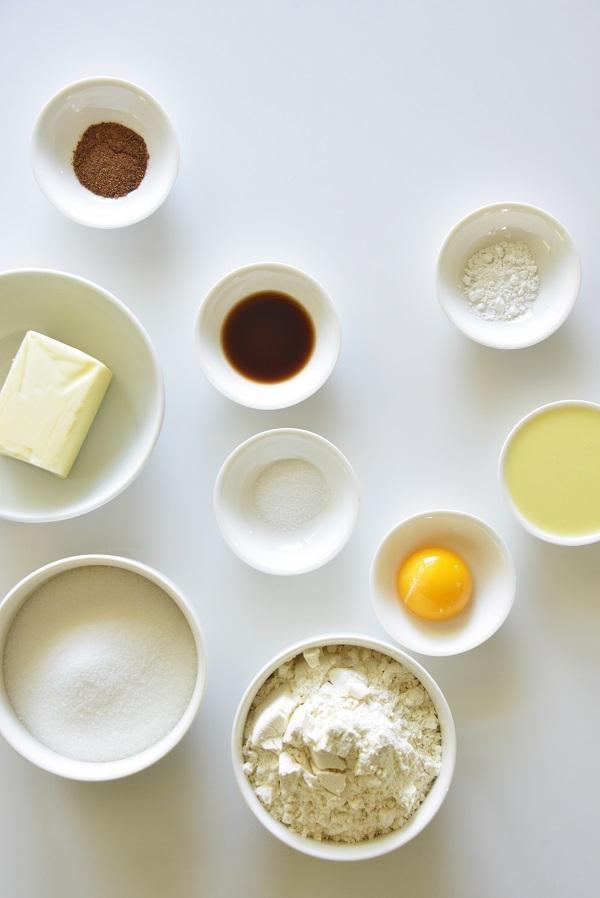 Ingredients used in making Eggnog Cookies.
