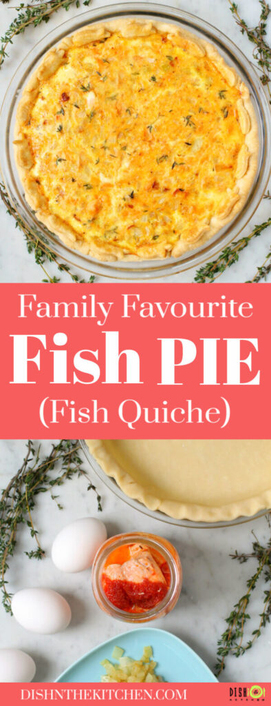 Pinterest double image featuring a golden baked quiche and ingredients used in the fish pie.