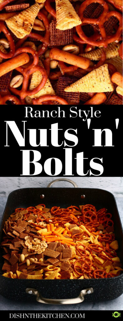 Pinterest image of a pan filled with ingredients for nuts n bolts.