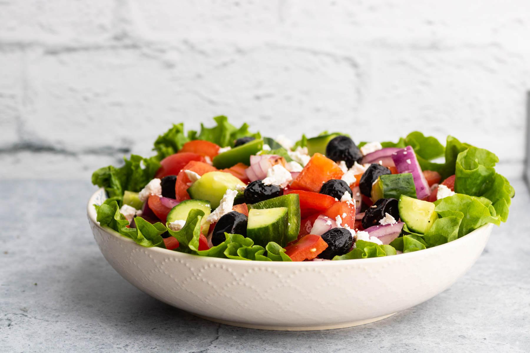 Horiatiki Salad (Classic Greek Village Salad) - Dish 'n' the Kitchen