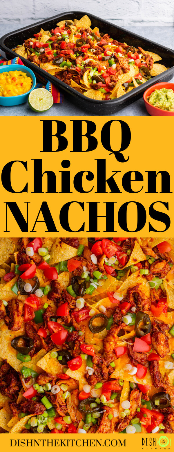 Pinterest image featuring bbq chicken nachos topped with cheese, tomatoes, green onions and jalapenos.