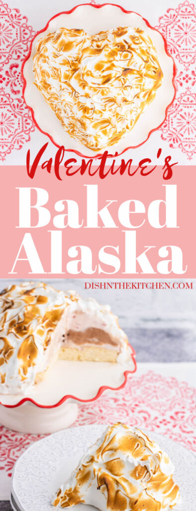 Pinterest image of a heart shaped Baked Alaska covered in caramelized meringue on a red rimmed plate.