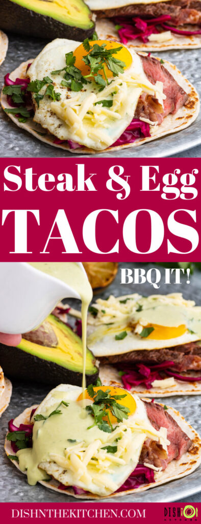Pinterest image featuring steak strips and fried eggs on a tortilla.