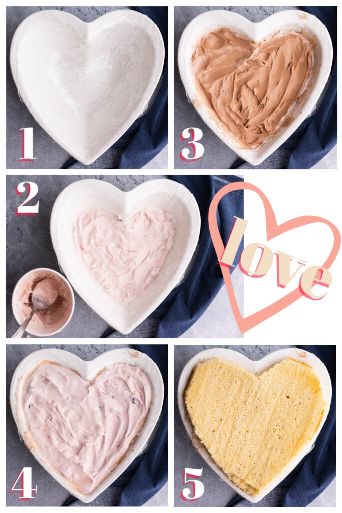 Process photo collage showing how to add layers to a Baked Alaska heart shaped mold.